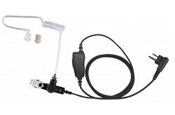 One Wire Surveillance Kit with In-Line PTT Microphone and Acoustic Tube Earpiece - Cloth