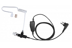 1-Wire, Plastic Surveillance Kit with In-Line PTT Microphone and Acoustic Tube Earpiece