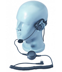 Lightweight Heavy Duty Behind The Head Headset with Left Earphone, Boom Microphone and Inline Lapel PTT